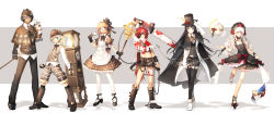 aisha_(elsword) alternate_costume chainsaw chung chung_(elsword) clock elsword elsword_(character) eve_(elsword) highres mask raven_(elsword) red_hair rena_(elsword) scorpion5050 steampunk victorian