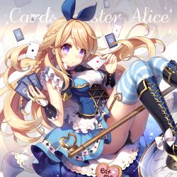 1girl ace alice_(wonderland) alice_in_wonderland bangs black_boots black_panties blonde_hair blue_legwear blue_ribbon blue_skirt boots braid breasts brooch card clock clubs_(playing_card) corset cross-laced_footwear cursive english garter_straps hair_ribbon heart jewelry long_hair looking_at_viewer masaru.jp medium_breasts miniskirt original panties playing_card purple_eyes ribbon sitting skirt solo spades_(playing_card) starry_sky_print striped striped_legwear thighhighs underwear very_long_hair