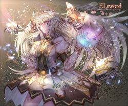 1girl ami_(peg325) copyright_name elsword eve_(elsword) expressionless gloves highres long_hair skirt solo sparkle watermark web_address white_eyes white_hair wings
