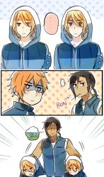 ... 4boys black_hair blonde_hair blush_stickers caliburn carnwennan carrying_under_arm casual character_name comic dark_skin dark_skinned_male directional_arrow excalibur hood hoodie jacket jitome lake long_hair male_focus mole mole_under_eye multiple_boys orange_hair original personification ponytail rhongomyniad rosel-d shaded_face short_hair sideburns sidelocks silent_comic sleeveless thought_bubble touken_ranbu track_jacket vest