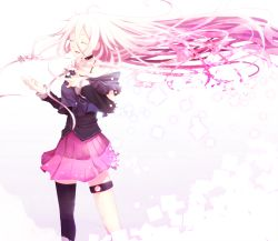 1girl black_legwear braid choker detached_sleeves eyes_closed hand_on_own_chest ia_(vocaloid) long_hair mismatched_legwear music off_shoulder open_mouth pink_hair pink_skirt pleated_skirt singing single_thighhigh skirt solo thigh_strap thighhighs thighlet twin_braids very_long_hair vocaloid wind wind_lift