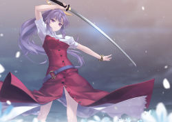 1girl bow hair_bow katana long_hair ponytail purple_eyes purple_hair rokuwata_tomoe solo sword touhou watatsuki_no_yorihime weapon