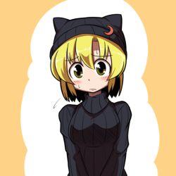 1girl animal_hat blonde_hair blush cat_hat flying_sweatdrops hat lunasa_prismriver midori_niku solo sweatdrop touhou yellow_eyes