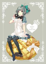 1girl absurdres ahoge anchor arm_support bangs black_bow black_legwear bow bowtie bread breasts brown_eyes crown cup dress eyebrows_visible_through_hair fishnet_pantyhose fishnets food frame full_body green_bow green_hair grey_background grey_hair hair_bow hand_up hario_4 heart highres kantai_collection looking_at_viewer melon_bread open_mouth orange_ribbon pantyhose ponytail puffy_short_sleeves puffy_sleeves ribbon shoe_bow shoes short_ponytail short_sleeves sitting sitting_on_food small_breasts solo striped striped_bow syrup teacup white_dress white_ribbon wristband yuubari_(kantai_collection)