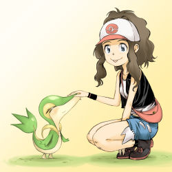 >_< 1girl :p baseball_cap brown_hair commentary_request eyelashes eyes_closed hat long_hair looking_at_viewer nose_pinch pokemon pokemon_(game) pokemon_bw ponytail sapphire_satou shorts smile snivy squatting standing tongue tongue_out touko_(pokemon) wristband