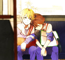 2boys bag blonde_hair blue_eyes brown_hair bus bus_interior eyes_closed ichinose_kazuya inazuma_eleven inazuma_eleven_(series) male_focus mark_kruger mezasi motor_vehicle multiple_boys sleeping track_suit vehicle