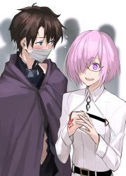 1boy 1girl black_hair blue_eyes blurry blush cloak command_spell cosplay costume_switch crowd depth_of_field embarrassed fate/grand_order fate_(series) flying_sweatdrops fujimaru_ritsuka_(male) fujimaru_ritsuka_(male)_(cosplay) hair_over_one_eye lavender_hair purple_eyes shielder_(fate/grand_order) shielder_(fate/grand_order)_(cosplay) shijiu_(adamhutt) short_hair simple_background smile surgical_mask uniform upper_body white_background