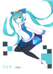 1girl 2016 absurdres aqua_eyes aqua_hair character_name goggles goggles_on_head hat hatsune_miku highres long_hair looking_at_viewer pantyhose skirt solo twintails very_long_hair vocaloid white_background yuki_miku