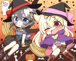 2girls ;d alternate_costume black_hair black_ribbon blonde_hair blue_eyes broom broom_riding chibi closed_mouth fang ghost hair_flaps hair_ornament hair_ribbon hairclip halloween_costume hat highres jako_(jakoo21) kantai_collection long_hair multiple_girls one_eye_closed open_mouth red_eyes remodel_(kantai_collection) revision ribbon shigure_(kantai_collection) short_sleeves smile witch_hat yuudachi_(kantai_collection)
