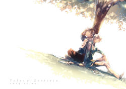 2boys back-to-back brown_hair cape copyright_name dated dutch_angle grass green_eyes h28 hand_on_head indian_style lavender_eyes mikleo_(tales) multiple_boys one_eye_closed silver_hair sitting sorey_(tales) tales_of_(series) tales_of_zestiria tree tree_shade