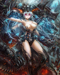1girl black_sclera blue_hair breasts cleavage crown extra_arms fantasy highres kouson33 large_breasts magic monster monster_girl multi_limb multiple_arms original parted_lips purple_eyes scales silver_hair skull teeth thighhighs witch