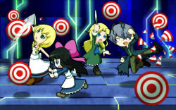 1boy 3girls aya_drevis belt black_hair blonde_hair blue_eyes bow braid crossover dress flying_kick garry_(ib) green_eyes hair_over_one_eye highres ib kicking knife mad_father majo_no_ie mary_(ib) multiple_girls purple_hair shan_grila super_smash_bros. twin_braids viola_(majo_no_ie)