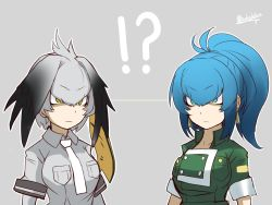 !? 2girls black_hair blonde_hair blue_eyes blue_hair breasts earrings eyebrows_visible_through_hair grey_hair grey_necktie highres jewelry kemono_friends leona_heidern long_hair looking_at_another multicolored_hair multiple_girls necktie ponytail sakuhiko shoebill_(kemono_friends) short_hair short_ponytail the_king_of_fighters the_king_of_fighters_'96 twitter_username