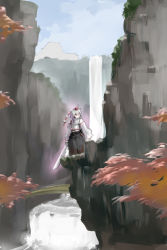 1girl animal_ears blue_sky bridge detached_sleeves facing_viewer hat high_collar highres inubashiri_momiji kuriyama5422 ledge looking_away midriff outdoors pom_pom_(clothes) red_eyes rock sky solo sword tokin_hat touhou tree_branch unsheathed water waterfall weapon white_hair wolf_ears