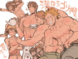1girl 6+boys abs chambray cutiebell donny_(fire_emblem) fire_emblem fire_emblem:_kakusei flexing frederik_(fire_emblem) grego manly mark_(fire_emblem) multiple_boys muscles noire_(fire_emblem) pose shirtless sweat teacup teapot wyck