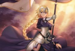armor armored_dress black_legwear blonde_hair blue_eyes braid capelet dusk fate/apocrypha fate_(series) faulds flag gauntlets headpiece lazuri7 light_rays looking_at_viewer ruler_(fate/apocrypha) sheath sheathed single_braid sky smile sunbeam sunlight sword thighhighs weapon wind