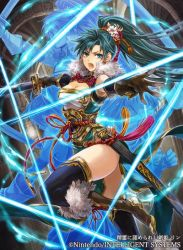 1girl black_legwear boots company_connection copyright_name elbow_gloves fire_emblem fire_emblem:_rekka_no_ken fire_emblem_cipher fur_trim gloves green_hair hagiya_kaoru holding holding_weapon knee_boots long_hair looking_at_viewer lyndis_(fire_emblem) open_mouth ponytail sword weapon