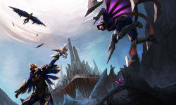 1boy 1girl absurdres bird boots bow_(weapon) butterfly crossbow dagger feathers gauntlets greaves headpiece highres hooded_cloak league_of_legends quinn tagme talon_(league_of_legends) valor_(league_of_legends) weapon wing_(wingho) yellow_eyes