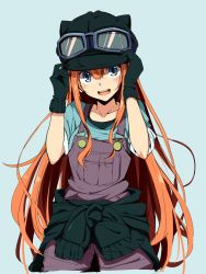 1girl amano_tora animal_helmet black_gloves blue_background gloves goggles goggles_on_headwear hat highres kazenoko long_hair looking_at_viewer open_mouth original red_hair simple_background sketch smile solo