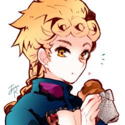 1boy ayatsuku blonde_hair chocolate_cornet eating giorno_giovanna jojo_no_kimyou_na_bouken solo yellow_eyes