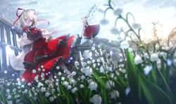 1girl :o blonde_hair blue_eyes bow doll_joints dress fairy_wings field flower flower_field frilled_dress frills hair_ribbon lily_of_the_valley looking_at_viewer medicine_melancholy neck_ribbon outdoors puffy_short_sleeves puffy_sleeves ribbon ryosios short_hair short_sleeves su-san touhou wings