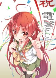 1girl black_legwear blush confetti looking_at_viewer open_mouth red_eyes red_hair roke school_uniform serafuku shakugan_no_shana shana simple_background solo sweatdrop thighhighs