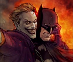 2boys bat_symbol batman batman_(series) bolo_tie bruce_wayne cape cowl dc_comics fake_animal_ears fingersmile fire forced_smile gloves green_hair lipstick male_focus mask multiple_boys purple_gloves selfie smile suit teeth the_joker