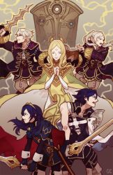 2boys 3girls blonde_hair blue_eyes blue_hair book brown_eyes emblem fire_emblem fire_emblem:_kakusei krom long_hair lucina multiple_boys multiple_girls my_unit nintendo smile sword weapon white_hair
