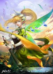 blonde_hair bracelet breasts cleavage cleavage_cutout corset earrings floating_rocks hair_ornament highres jewelry kang_kang_zi large_breasts leafa lips long_hair looking_at_viewer moon parted_lips petals pointy_ears ponytail puffy_sleeves scabbard sheath sky sword sword_art_online unsheathing weapon wings