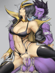 1boy 1girl black_hair black_legwear breasts cleavage collar cum cum_in_pussy emilia_leblanc forehead_jewel highres kumiko_(aleron) kumiko_shiba league_of_legends licking monster navel popped_collar purple_eyes rape saliva sex short_hair simple_background thighhighs vaginal wide_hips