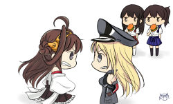 4girls ahoge akagi_(kantai_collection) bismarck_(kantai_collection) black_hair black_legwear blonde_hair brown_eyes brown_gloves brown_hair brown_skirt chibi confrontation detached_sleeves double_bun food frilled_skirt frills gloves grey_eyes hairband hakama_skirt hamburger hat headgear highres japanese_clothes kaga_(kantai_collection) kantai_collection kongou_(kantai_collection) long_hair military military_hat military_uniform mouth_hold multiple_girls nontraditional_miko peaked_cap ribbon-trimmed_sleeves ribbon_trim side_ponytail skirt sugimura_tomokazu thighhighs uniform white_legwear