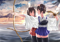 2girls ^_^ ^o^ akagi_(kantai_collection) archery arrow black_legwear blue_hakama blush bow_(weapon) brown_hair cloud cloudy_sky drawing_bow eyes_closed gloves hakama hakama_skirt highres japanese_clothes kaga_(kantai_collection) kantai_collection multiple_girls muneate nodokana_yuki ocean partly_fingerless_gloves petting red_hakama short_hair side_ponytail sky smile sunset weapon