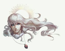 1boy behelit berserk blue_eyes eyelashes griffith happy kenny_(poe90) long_hair looking_to_the_side portrait silver_hair simple_background smile solo wavy_hair