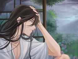 1boy black_hair blue_eyes hand_to_head izumi-no-kami_kanesada japanese_clothes kimono long_hair rain rainsp solo touken_ranbu yukata