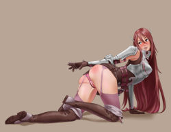 1girl all_fours armor bangs blush boots fire_emblem fire_emblem:_kakusei garter_straps long_hair nintendo panties pussy pussy_juice red_ass red_hair simple_background smile solo thighhighs tiamo uncensored