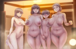 1boy 3girls abubu age_difference areolae blush breasts brown_eyes brown_hair erection eyes_closed hand_holding highres large_breasts long_hair milf mother_and_daughter multiple_girls navel nipples old_woman original panties panties_around_leg penis plump pubic_hair pussy short_hair shota smile straight_shota testicles thick_thighs uncensored underwear undressing wide_hips