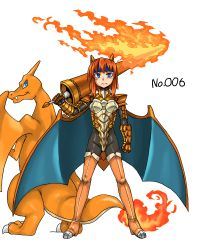 1girl armor blue_eyes boots breastplate breasts charizard gauntlets horns kitsune-tsuki_(getter) lance looking_at_viewer orange_hair pauldrons personification pokemon pokemon_(creature) polearm thigh_boots thighhighs weapon wings