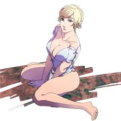 1girl blonde_hair breasts cleavage green_eyes resident_evil resident_evil_6 sherry_birkin short_hair