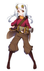 1girl azalanz boots cape defense_of_the_ancients dota_2 full_body genderswap goggles goggles_on_head gun long_hair musket pants red_eyes simple_background sniper_(dota_2) solo standing twintails weapon white_background white_hair