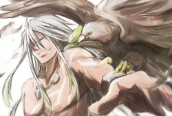 1boy bird grin jewelry long_hair male mishiro_(andante) necklace shirtless smile solo tales_of_(series) tales_of_zestiria tattoo white_background white_hair yellow_eyes zavied_(tales)