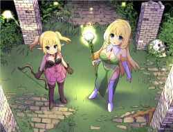 2girls bare_shoulders blonde_hair blue_eyes boots bow_(weapon) breasts cleavage dress elbow_gloves elf from_above gloves large_breasts long_hair looking_up multiple_girls original pointy_ears side_slit skull staff strapless strapless_dress thigh_boots thighhighs twintails weapon