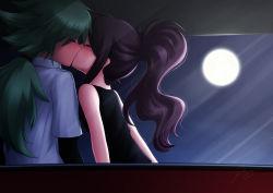 1boy 1girl blush eyes_closed full_moon green_hair hetero kerasu kiss long_hair moon n_(pokemon) pokemon pokemon_(game) pokemon_bw ponytail purple_hair touko_(pokemon)
