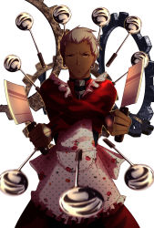 1boy apron archer artist_request cutlery dark_skin dark_skinned_male dual_wielding fate/stay_night fate_(series) floral_print foreshortening gears highres holding kitchen_knife knife meme parody rose_print solo spoon unlimited_blade_works white_background white_hair
