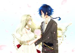 1boy 1girl :d alternate_costume bare_shoulders bead_necklace blush bouquet breasts bridal_veil cherry_blossoms cleavage code_geass code_geass:_boukoku_no_akito collarbone couple dress earrings eye_contact face-to-face flower hyuuga_akito jewelry komaichi leila_(code_geass) looking_at_another open_mouth petals profile sash smile upper_body veil wedding wedding_dress