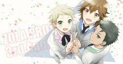 3boys black_hair blonde_hair blue_eyes from_above hair_slicked_back jewelry kikuchi_mataha kyo_(vocaloid) looking_at_viewer male_focus multiple_boys smile vocaloid wil_(vocaloid) yuu_(vocaloid) zola_project