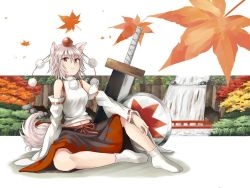 1girl animal_ears bow bridge detached_sleeves hat hijiki_(hijiri_st) inubashiri_momiji jpeg_artifacts leaf long_sleeves looking_at_viewer maple_leaf midriff nature navel no_shoes pom_pom_(clothes) red_eyes sarashi shield shirt short_hair sitting skirt socks solo string sword tail tokin_hat touhou tree water waterfall weapon white_hair white_legwear wide_sleeves wolf_ears wolf_tail