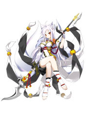 animal_ears ara_han breasts cleavage elsword multiple_tails spear weapon white_hair