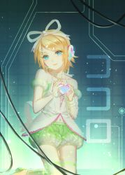 1girl akano_sakura bare_shoulders blonde_hair blue_eyes bow bracelet detached_sleeves hair_bow hair_ornament hairclip headphones heart holding_heart jewelry kagamine_rin kokoro_(vocaloid) lace navel puffy_detached_sleeves puffy_shorts puffy_sleeves shirt shorts smile solo thighhighs vocaloid wire