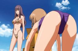 00s 2girls agent_aika aika_r-16 all_fours angry animated animated_gif ass bare_legs beach bikini blue_hair bouncing_breasts breasts brown_eyes brown_hair erect_nipples female fight large_breasts long_hair multiple_girls nipples one-piece_swimsuit risako_nagisa shiny_skin short_hair sky smile standing sumeragi_aika swimsuit talking thong