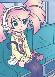 1girl artist_name bag black_hair black_legwear blue_eyes bus bus_interior hair_ornament handbag hands_on_lap haruka_nana headphones kouotsu motor_vehicle pink_hair school_bag seat short_twintails sitting smile solo sweater thighhighs twintails utau vehicle vocaloid zettai_ryouiki